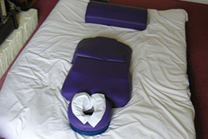 Shiatsu massage setup with pillow.