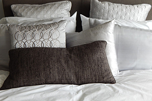 Bedding with comfortable pillow.